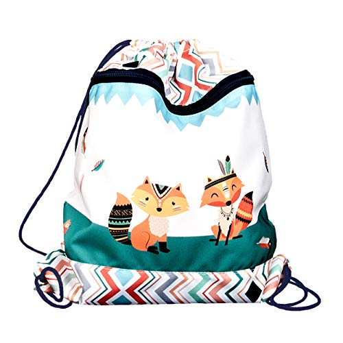 FUNKI Turnbeutel Indian Foxes mit Fuchsmotiv, Praktische Aussentasche mit Reissverschluss, federleicht und praktisch verstaubar Weiss/grün, Polyester, 36x42cm