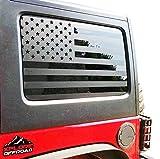 XPLORE OFFROAD - Jeep Wrangler | Precut American Flag Window Decals | Matte Black USA Vinyl for Rear Side Window JKU 2007-2017 (4 Door)