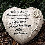 Herz Grabschmuck mit Gravur Trauerspruch und Rose.