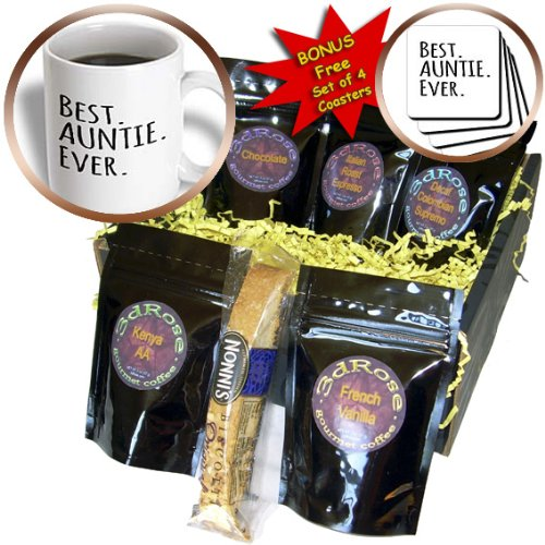 3dRose InspirationzStore Typography - Best Auntie Ever - Family gifts for relatives and honorary Aunts and Great Aunts - black text - Coffee Gift Basket (cgb_151475_1)