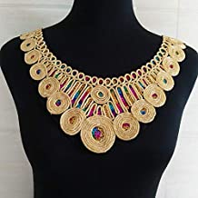1pc Gold Embroidery Ethnic Style Collar Venise Sequin Floral Embroidered Applique Lace Neckline Collar Garment Accessories (Circular Collar)