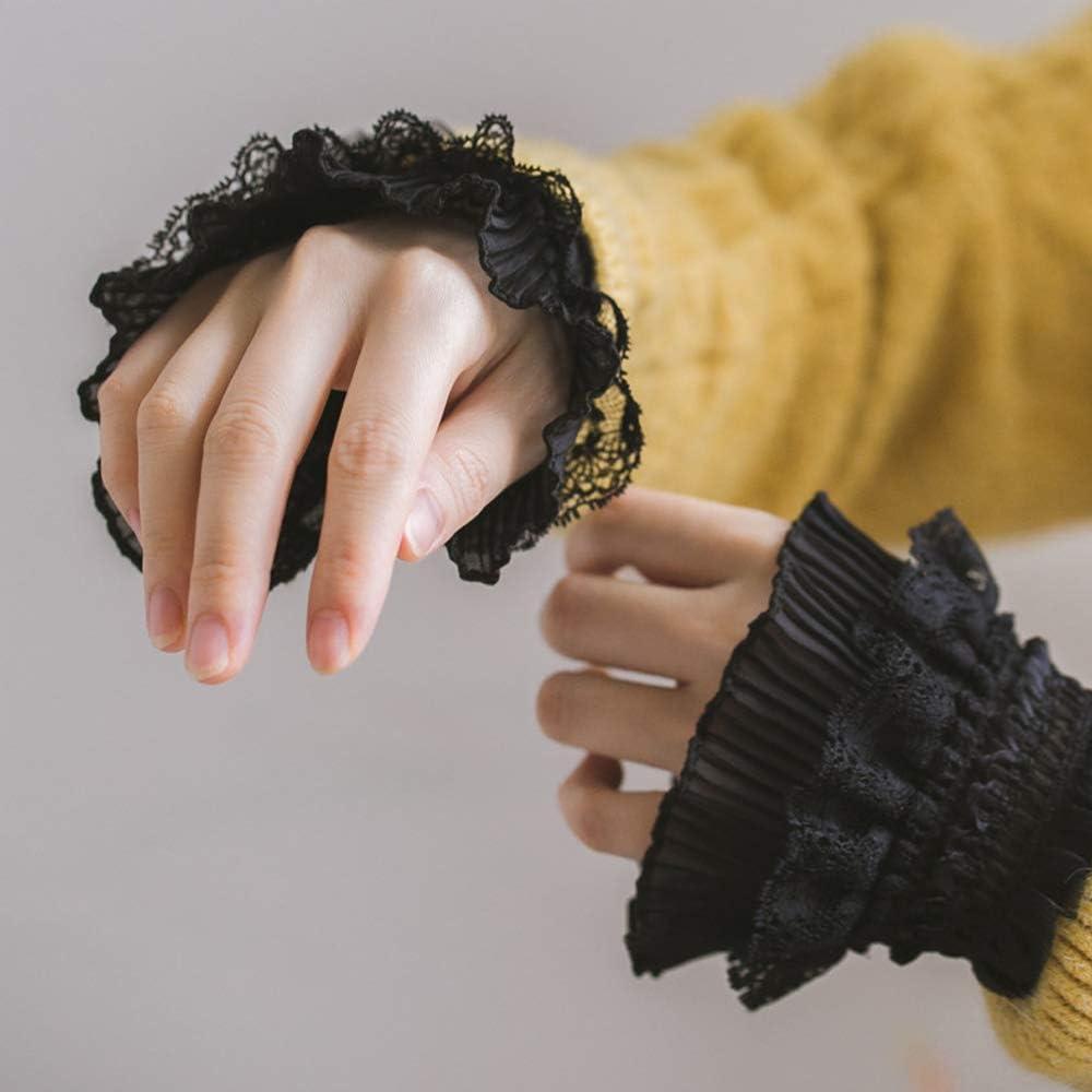YAKEFJ Floral Layered Lace Cuff Stretch Bracelet False Sleeves Wrist Cuffs 1 pair