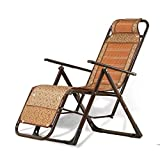 FTFTO Office Life Deck Chair Sun Lounger Garden Reclining, Bamboo Weaving Balcony Recliner Office Nap Break Chair Lazy Folding Chair (Color : Yellow)