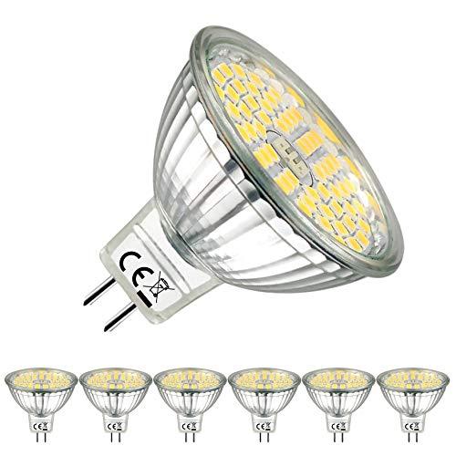 EACLL Bombillas LED GU5.3 4000K Blanco Neutro 5W Fuente de Luz 500 Lúmenes Equivalente 50W Halógena. 12V Sin Parpadeo MR16 Focos, 120 ° Spotlight, Blanca Neutra Natural Lámpara Reflectoras, 6 Pack