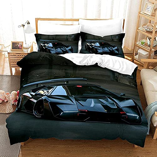 Copripiumino 3D Fantastica macchina sportiva Set copripiumino e federa per letto singolo, matrimoniale, king e king size,1 copripiumino(260cm x 240cm)+ 2 federe(50cm x 91cm)