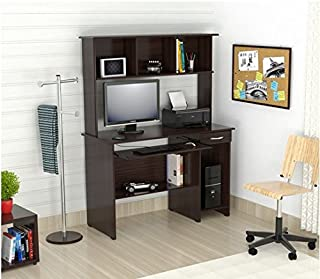 Inval America Brown Wood Computer Work Center with Hutch