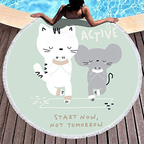 yjduop Thicken Camping Beach-Towels Mat Sticky Art Pattern Beach Blanket Throw Yoga Picnic Mat with Tassels Multi-Purpose Yoga Blanket for Outdoor & Camping White 59 inch