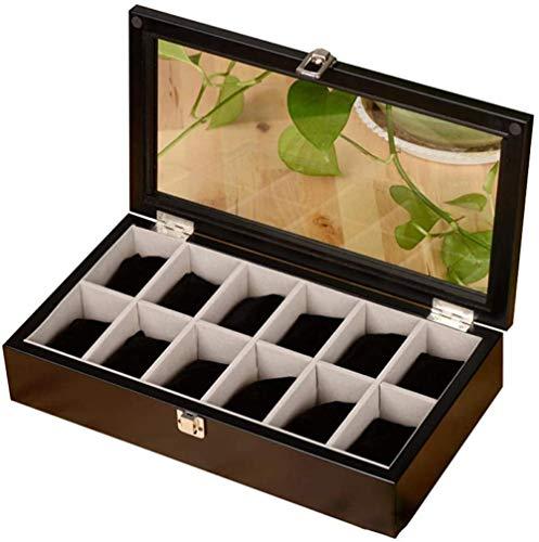 MMYNL Caja de Reloj de 12 dígitos Organizador cosmético Caja de Reloj de Cuero Caja de Almacenamiento de exhibición Caja de Regalo 36.8 * 19.9 * 7.4cm