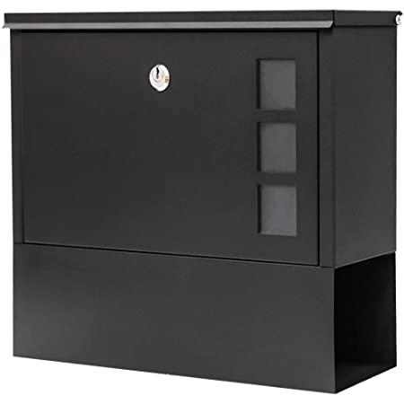 KYODOLED Locking Mailbox Wall Mount,Locked Mailboxes for Outside,Mail Box with Key Lock,Large Capacity Mailbox for Newspapers,14.3 x 4.1 x 11.8 Inch, Black