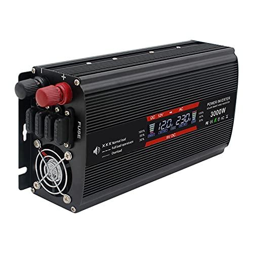 Inverter di potenza a onda sinusoidale pura Convertitore CC da 12V a 110V CA, con 2 prese CA Inverter per auto e 2 USB, con prese CA Ricarica laptop, tablet per auto camion camper,3000w,12V/110V
