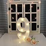 oamore LED Alphabet Licht Brief Dekorative Lampe Licht LED Weiß Beleuchtete Buchstaben und Zahlen für Geburtstag Hochzeit Bar Wandbehang Dekor (9)