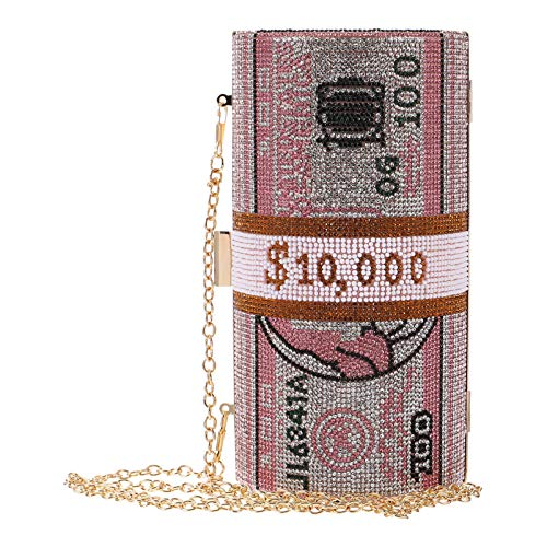 ifundom Dollar Evening Bags Dinero Monederos Bolso de Diamantes de Imitación Bolsos de Embrague Pila de Dinero para Mujeres Fiesta Bandolera Bolsos de Hombro (Rosa)
