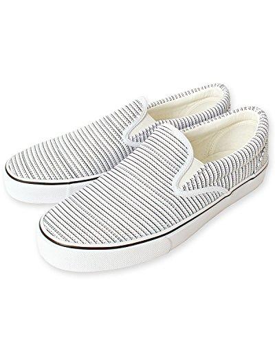 [エムシー] スリッポン メンズ スニーカー レースアップ シューズ スウェット 靴26-ミックスホワイト 26.5cm