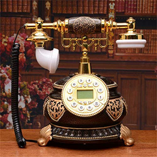 Resin Imitation Copper Retro Old Fashioned Rotary Dial Antique Telephone with Answering Machine Traditional Bell Ring and with Rotary Dial Vintage Retro Landline