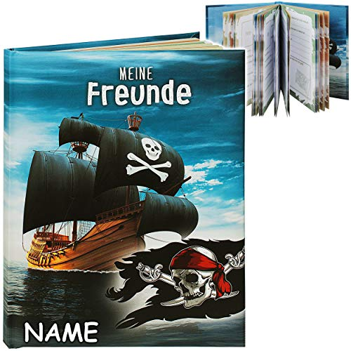 Freundebuch _ Meine Freunde _ Pirat - Piratenschiff - inkl. Name - A5 - Buch gebunden für Schule / Vorschule / Kindergarten / Kita - Kind - Kinder Poesiealbum..