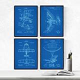 Nacnic Blau Flugzeuge Patent Poster 4-er Set. Vintage Stil