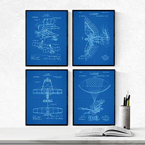 Nacnic Azul - Pack de 4 Láminas con Patentes de Aviones. Se