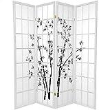 Oriental Furniture 6 ft. Tall Lucky Bamboo Shoji Screen - White - 4 Panels