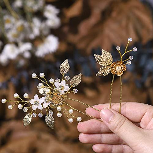 Edary Braut Hochzeit Blume Haarnadeln Perle Brautschmuck Hochzeit Haarschmuck Gold Haarspangen für Frauen und Mädchen 2 Stück