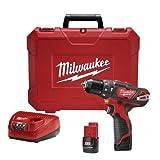 Milwaukee M4 2408-22 Rotomartillo Inalámbrico 3/8' 12 V Vvr 400-1500 Rpm 0-22500 Gpm 2 Bat M12...