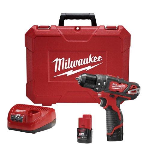 Milwaukee M4 2408-22 Rotomartillo Inalámbrico 3/8' 12 V Vvr 400-1500 Rpm 0-22500 Gpm 2 Bat M12 Cp1.5 Carg Caja Plas
