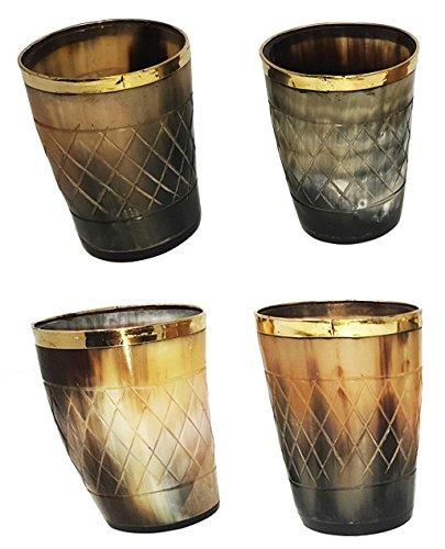 Juego de 4 unidades de vasos de cuerno natural elaborados a mano: vasos de asta pulidos de 7,5cm (3pulg.) con borde superior de latón para servir cerveza. Perfectos para fiestas.