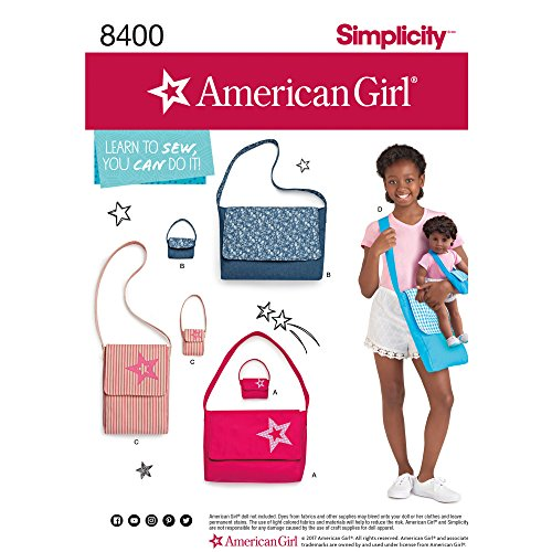 """Simplicity Pattern #8400 American Girl Bags for Child and Bags for 18"""" Doll"""