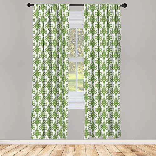 Lunarable Celtic Window Curtains, St. Patrick's Day Theme Celtic Knots Lucky Clover Design Pattern Irish Theme Print, Lightweight Decorative Panels Set of 2 with Rod Pocket, 56' x 63', Green White
