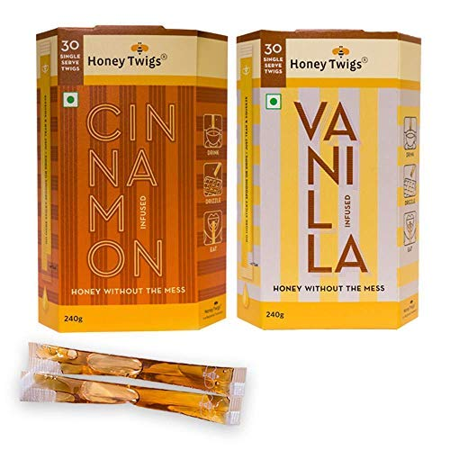 Honey Twigs Gourmet Spice Infused Honey - Pack of Cinnamon Infused Honey Vanilla Infused Honey - 240G / 30 Twigs Each (No Artificial Flavour)