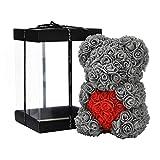 NF Rosenblumenbär - Über 250 Blumen auf jedem Rosenbären - Geschenk für Muttertag, Valentinstag, Jubiläum und Brautduschen - Klare Geschenkbox inklusive! 10 Zoll groß (Gray, 10in)