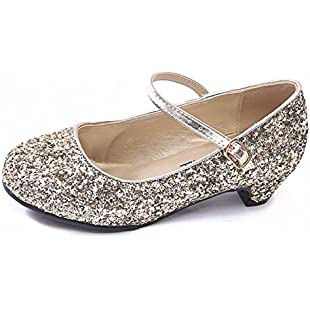 Buckle Shoes New Girls Kids Childrens Mary Jane Glitter Low Heel Party Wedding Sandals Court Shoes (11UK/EU29 - Child, Gold Glitter)
