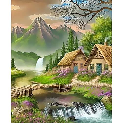 COCOUH DIY Digital Lienzo Pintura al óleo Regalo para Adultos Niños Pintura por Numero Kits Decoración del Hogar 16*20 Pulgadas-Casa de Campo