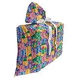 ABAKUHAUS Casino Sac Cadeau pour Fête Prénatale, Casino Chips Chance, Pochette en Tissu Réutilisable de Fête avec 3 Rubans, 70 x 80 cm, Multicolore
