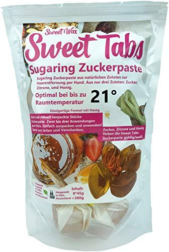 Sweet Tabs 21° Gold Brazilian Wax. Einfach auspacken, kneten und anwenden. Enthaarungswachs aus Sugaring Zuckerpaste zur Haarentfernung per Hand. Keine Vliesstreifen oder Erwärmen nötig. 8 * 45g =360g