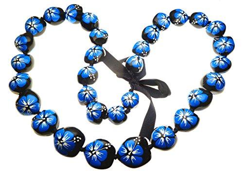 Aloha Passion Hawaiian Style Kukui Nut Lei, Hand Painted Blue Hibiscus 32 Inches