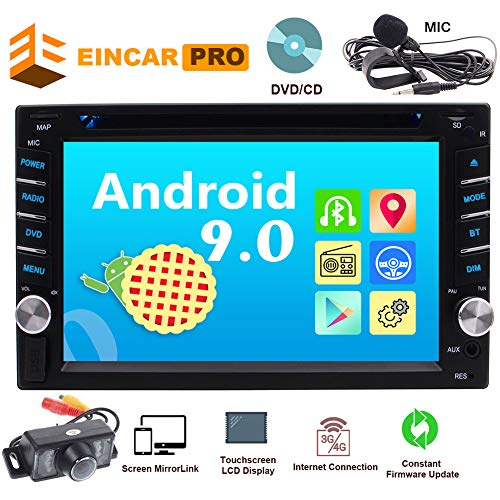Car Radio Android 9.0 Car Audio 2 Din Quad-core Head Unit in Dash Double Din Stereo DVD/CD Player 6.2 Inch Multi Touch Screen Bluetooth 4.0 Support 1080P Video WiFi AM FM Radio Free Backup Camera