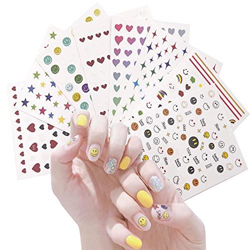 Nail Art Stickers Calcomanías para mujeres y niños,8 hojas de pegatinas para caras sonrientes,HOINCO 3D pegatinas de primavera autoadhesivas arcoíris estrellas Luna cara