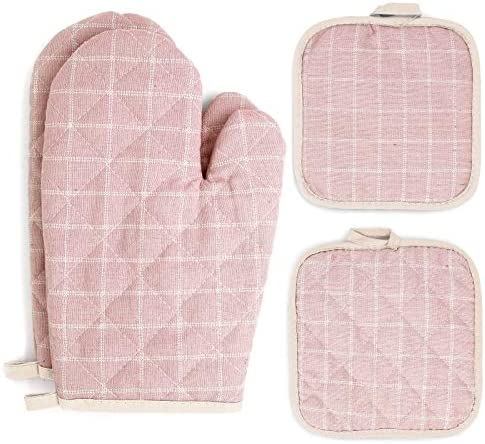 Oven Mitts and Pot Holders Sets 4 pcs Pink Oven Mitt Set with Potholders for Kitchen Heat Resistant product image
