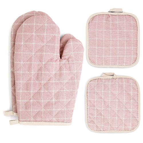 Oven Mitts and Pot Holders Sets 4 pcs, Pink Oven Mitt Set with Potholders for Kitchen Heat Resistant, Hot Pads and Oven Mitts Sets Cotton Quilted Kitchen Mittens Home Cooking Baking Mitts for Woman