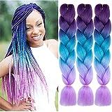 NATURAL BEAUTY Synthetic Braiding Hair Bundles Kanekalon Hair Ombre Twist Braiding Hair Fiber Jumbo Hair Extensions for Women (3 Bundles, Purple-Lake Blue-Light Purple)