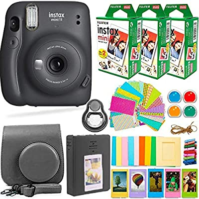 Fujifilm Instax Mini 11 Camera with Fuji Instant Film (60 Sheets) & Accessories Bundle Includes Case, Filters, Album, Lens, and More by DEALS NUMBER ONE + FUJIFILM