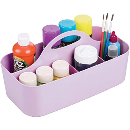 mDesign Art and Craft Storage Tray – Large Art Storage Box with 11 Compartments – Ideal Desk Organiser for Paints, Pens, Brushes and More – Purple