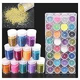 Glitter fini, 32 x 10 g (320 g), Glitter per decorazioni | Set di Glitter Polvere per Slime, nail art, viso, ombretto - Glitter colorato per creazioni fai da te