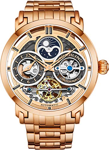 Stührling Original Mens Watch Stainless Steel Automatic, Rose Gold Skeleton Dial, Dual Time, AM/PM...
