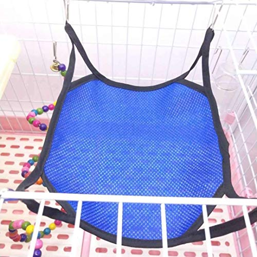 WEHOLY Hamac Swing Pet Hamac Hamster Hanging Toy, Cool Mesh Hamac Swing Bed House pour Pet Syrian Hamster Gerbil Rat Petit Cage Voyage Camping Hamac (Couleur: Bleu foncé, Taille: 35x35)