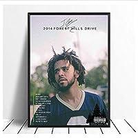 Qwgykr Jコール-2014フォレストヒルズドライブラップアルバムカバーとアルバムのシングルポスターポスターキャンバスプリントリビングルームの装飾用-16X24インチフレームなし