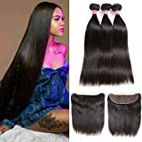 LONG YAO Brazilian Straight Virgin Hair 3 Bundles with Frontal Closure 13×4 Ear to Ear Lace Frontal with Bundles 100% Virgin Human Hair Extensions Weave weft Natural Color (16 18 20 +14 Frontal)