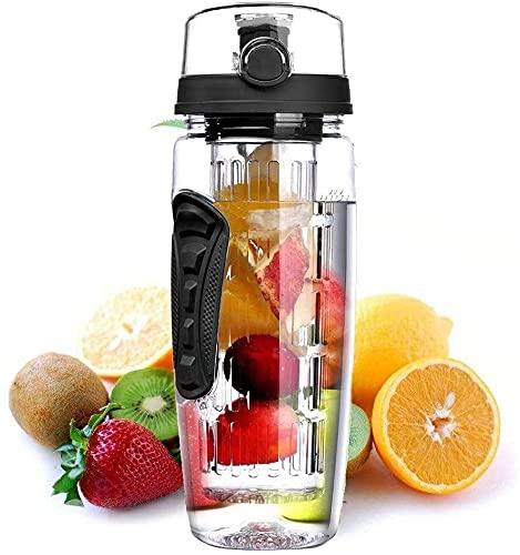 ICDOT Botella de Agua de infusión de Frutas 32 ox, Botella de Agua Deportiva Grande, BPA Gratis, Tapa Superior y Dual Antideslizantes, Botellas para Exteriores, Gimnasio, Yoga (Color : Negro)