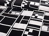 Fließender Viskosestoff grafisches Muster Schwarz Weiß