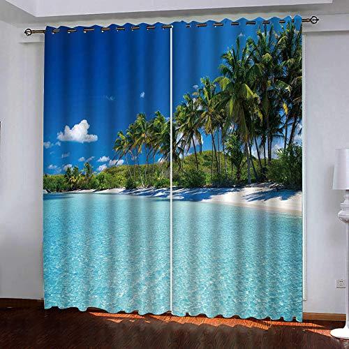 MEKVF Wärmedämmvorhang Eyelet Vorhang, 3D Printing Shading Vorhänge Balkon Vorhänge Schlafzimmer Fenster,2 Panel 140x160cm(Wxl) Strand Kokosnussbaum